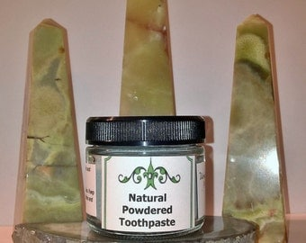 Natural Powdered Toothpaste, 2 oz herbal toothpaste, natural toothpaste, remineralizing toothpaste, NO Fluoride, best natural toothpaste