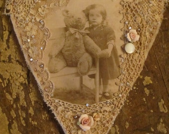 Sweet Girl with her Big Vintage Teddy Bear  Vintage Lace Collage Heart Ornament
