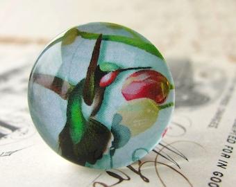 Green hummingbird, little bird, pink, aqua, handmade cabochon, glass cabochon, round 22mm cabochon, flat back image