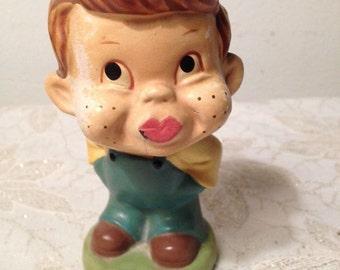 VIntage 1940's BOBBLEHEAD, Little Boy, KISS ME, Collectible Wobbler, Nodder, Red Hair, VisionsOfOlde