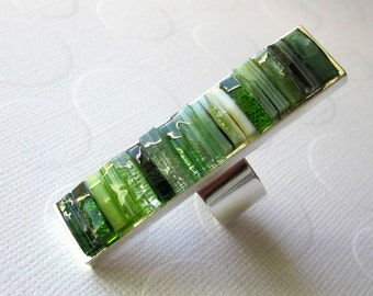 Long Ring Green Full Finger Ring Mosaic Finger Length Ring Stained Glass Jewelry Rectangle Long Ring Inlay Ring Jade Green Lime Green Ring
