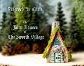 RESERVED for Chris - Fairy House of Chatsworth Village -Matterhorn Cottage -Handcrafted Fae Chalet -Tiled Roof, Blooming Flower Box & Moss