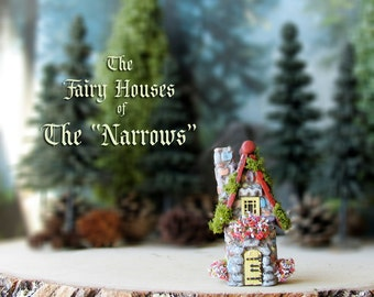 "The Fairy Houses of The ""Narrows"" - Enchanted N Scale Stone House with Flower Boxes, Mossy Tile Roof and Wooden Door - Terrarium Decor"