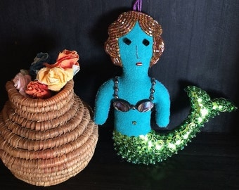 Mermaid - Folk Art Doll - Mermaid Ornament - Mermaid Decor - La Sirena - Inspired by Mexican Folk Art & Haitian Folk Art - Beaded Doll