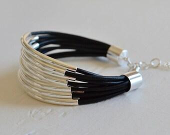 Black Leather Cuff Bracelet with Silver Tube Beads - Multi Strand Bangle Women's Bracelet ... by  B A L O O S