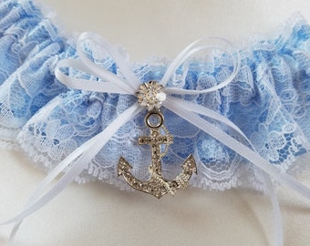 Rhinestone Anchor Garter and Lace Toss, Beach Wedding Garter, Destination Wedding Garter, Lace Garter, - The Rhinestone ANCHOR Garter