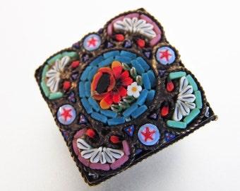 Beautiful Vintage Italian Micro Mosaic Brass Brooch Pin