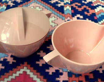 Melmac style Creamer and Sugar Set,    Vintage Mallo Ware plastic set,  Pink Melmac Creamer and Sugar Set