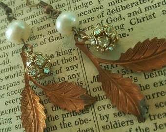 Vintage Assemblage Fall Leaf Freshwater Pearl Vintage Dangle Earrings