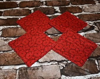 Red Calico Set of 4 Coasters/ Home Decor/ Housewarming Gift/ Birthday Gift/ Gift for Him/ Christmas Gift/ Gift for Nerds