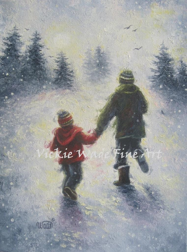 Dad Son Snow Play Art Print Two Boys Two Brothers Father