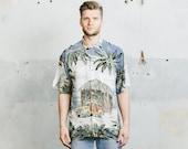 Vintage HAWAIIAN Shirt . 1980s Mens Floral Tropical Print 80s Vacation Hawaii Short Sleeve Summer Surfer Shirt . size Medium Large XL