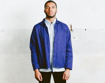 Vintage Mens WORK JACKET . French Style 1980s Vietnam Blue Chore Jacket Sanfor 80s Workwear Overshirt Blazer Outerwear . size Medium Large