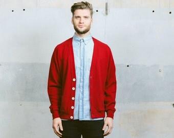 Mens CARDIGAN Sweater . Vintage 90s Deep Red Plain Wool V-neck Knit 1990s Jumper Ivy League Preppy Oversized Cardigan . Medium Large