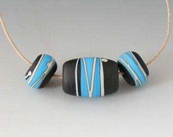Southwest BHB 4mm Set - (3) Handmade Lampwork Beads - Black, Turquoise - Etched, Matte