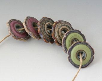 Rustic Artisan Pairs - (6) Handmade Lampwork Beads -  Lavender, Green, Bone