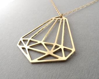 Gold diamond necklace, geometric necklace, gold rhombus necklace, unique necklace, woman necklace, geometric diamond, gold diamond, bling