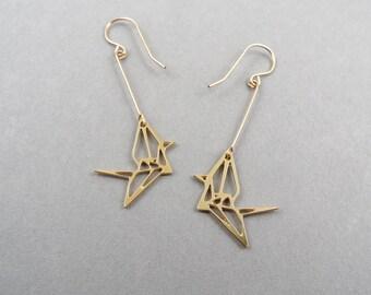 origami jewelry, bird jewelry, origami crane, crane earrings, bird earrings, origami earrings, gift for her