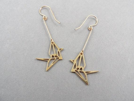 Items similar to origami jewelry, bird jewelry, origami ... - photo#9
