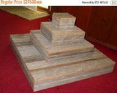 ON SALE 4  tier wedding cupcake Cake Box Stand Plate Barnwood Primitive Reclaimed Marriage Vintage rustic country