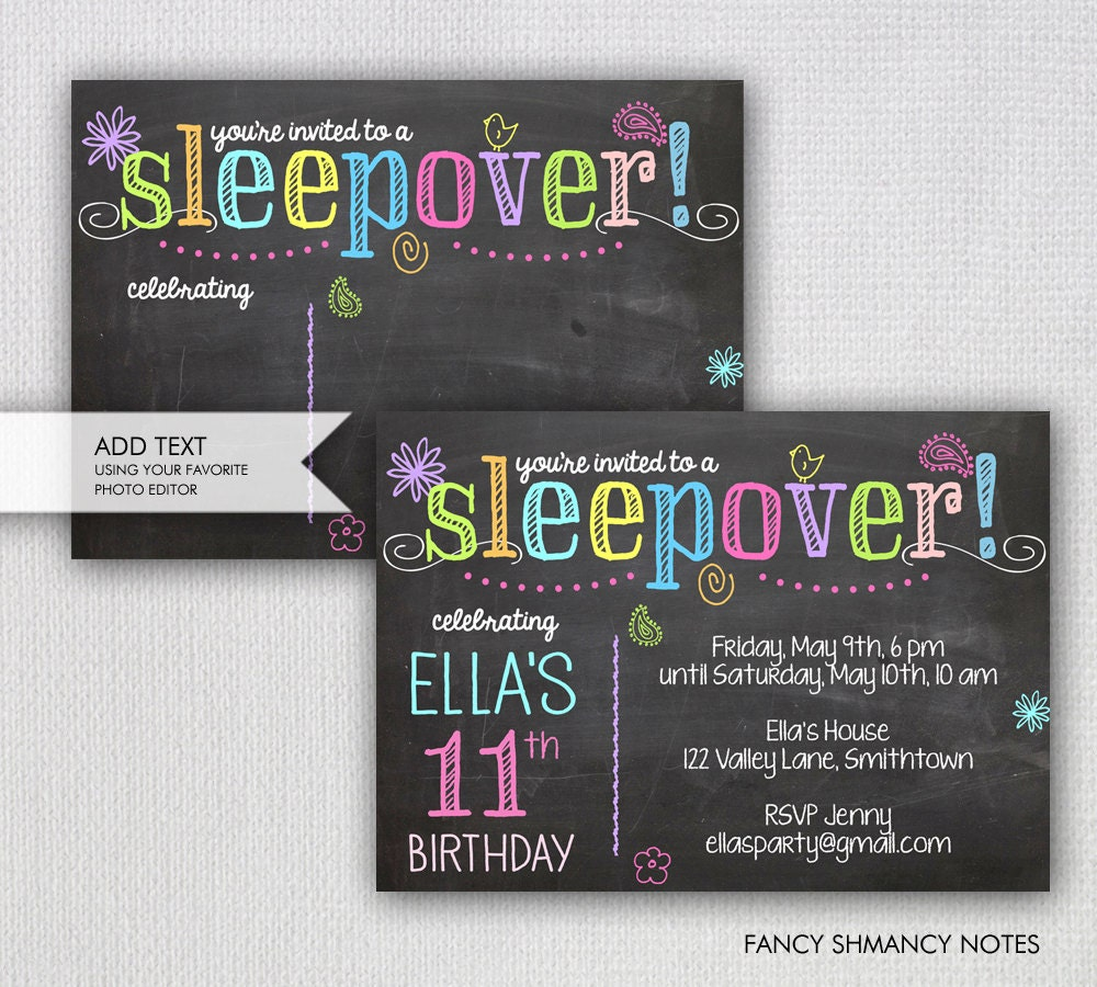sleepover invitation chalkboard sleepover party instant