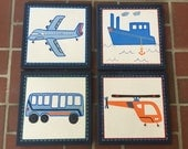 "4-pc ""Brody"" Madras airplane, car and truck canvas art set for boys room or nursery"