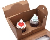 5 window kraft tote boxes for cup cake (2 hd type)