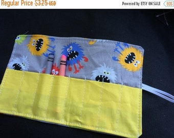Sale Christmas in July Crayon Roll up monster