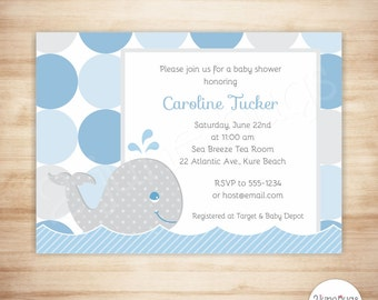 nautical whale baby shower invitation whale baby boy shower invite