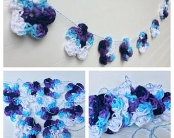 Crochet Flower Garland - Crochet Flower Banner - Bunting - Blueberry Crush
