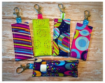Lip Balm Holder, Lipstick Holder, Lip Balm Key Fob - Choose your design