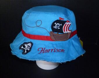 Monogram Stephen Joseph PIRATE Bucket Hat Personalized Toddler Bucket Hat Embroidered Sun Hat Custom Toddler Hat