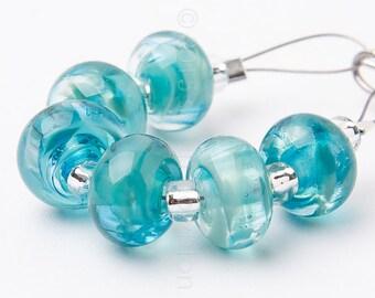 Ocean Spacer Swirl - Handmade Lampwork Glass Beads by Sarah Downton