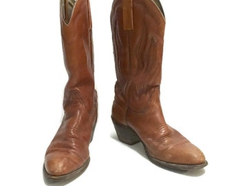 Vintage Frye Cowboy Boots, size 9, Marbled Leather Boots