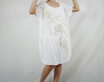 Boho Scoop Neck Creamy White Light Cotton Rayon Tunic Dress With Floral Applique Detail Women Tops Midi Dress Oversize Dress - SM705B