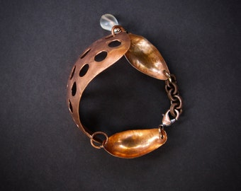 "Rustic Fold Formed Copper Bracelet Large Curved Antique Copper with Holes like ""Swiss Cheese""  Hand Made Metalwork Jewelry"