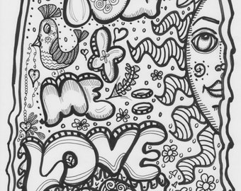 All You Need Is Love, Hippie Art, Poster to Color Your Way, Wedding Shower, Baby Shower, Peace Love Art