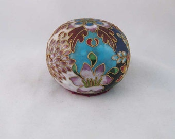 Vintage Porcelain Chinese Cloisonne Gold Enameled Round Ball Orb/Paper Weight