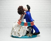 RESERVED - Romantic Kissing Mexican Theme Papel PIcado Coral Teal Wedding Cake Topper