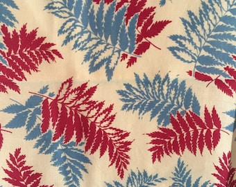 Vintage Feed Sack Material - Red & Blue Fern Fronds