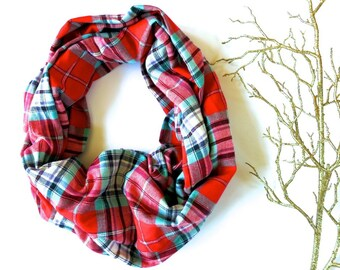 Red Mint Green Plaid Infinity Scarf for Men and Women - Holiday Christmas Winter Flannel Layering Accessory - Secret Santa Gift Ideas
