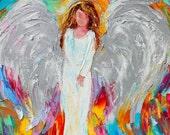 Original oil painting Angel of Light palette knife impressionism on canvas fine art by Karen Tarlton