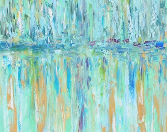 Abstract Original oil painting - Coastal Blue - Teal grey green palette knife impressionism on canvas fine art by Karen Tarlton