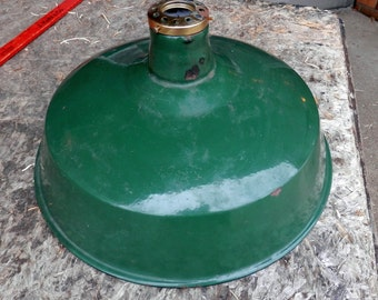 vintage original green and white enamel metal industrial gas station shade and fitter only