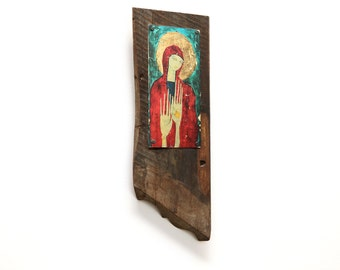 Mixed Media Icon with Raised Hands on Reclaimed Aluminum and Architectural Wood Wall Art