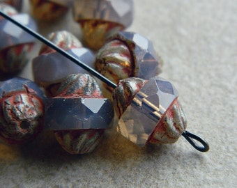 Picasso Turbine beads, Czech Glass beads, Large Fire Polished Beads, 11x10mm, Light Milky Purple & Picasso (8pcs) NEW