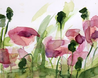 Poppies no. 17 Original Floral Watercolor Painting by Angela Moulton 8 x 10 inch white 11 x 14 inch White Mat