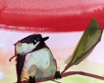 Chickadee no. 893 Original Watercolor Bird Painting by Angela Moulton 5 x 7 inch with 8 x 10 inch White Mat