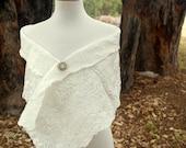 White Silk Bridal Shrug - Bridal Shawl - Brides Coverup - Nuno Felt - Custom listing for Franky