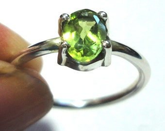 Green Peridot Ring Green Peridot Engagement Ring Peridot Solitaire Ring in Solid Sterling Silver Size 6.5